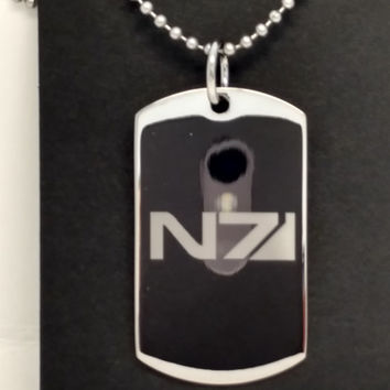 Mass Effect N7 Inspired Custom Engraved Fashion Dog Tag Pendant