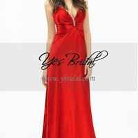 Sheath V-neck Floor-length Elastic Satin Prom Evening Dress SSC0078