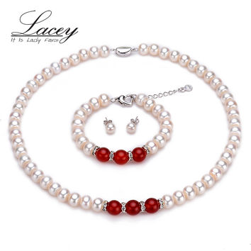 Classic real wedding pearl jewelry sets women,9-10mm natural white pearl necklace sets bracelet bridal fine jewelry mother gift