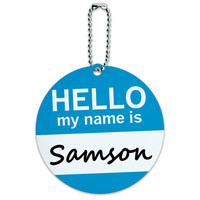Samson Hello My Name Is Round ID Card Luggage Tag