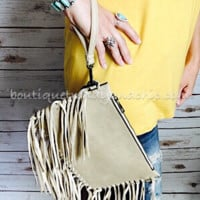 ALL OVER FRINGE CLUTCH/CROSSBODY