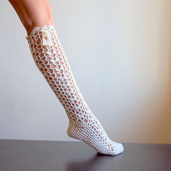 PDFpattern - Knee high Sokcs, legwarmers, lacy slippers crochet - DIY tutorial - lace fashion- dance, yoga, wedding, bride, fall winter