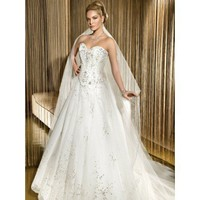 Modern sweetheart natural waist organza wedding dress