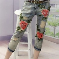 Buy Fancy Show Embroidered Skinny Jeans | YesStyle