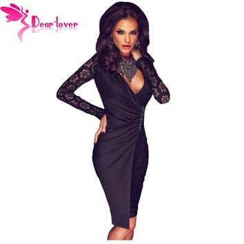 Dear Lover Winter Party Dresses Sexy Little Black Lace Long Sleeve Asymmetric Splice Dress in Autumn Vestidos Mujeres  LC61223