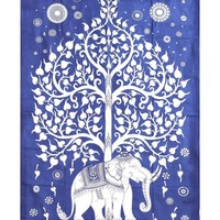 Magical Thinking Tree of Life Psychedelic Wall Hanging Blue Elephant Tapestry