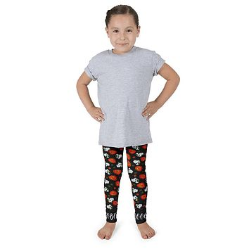 Paris METRO Couture: Pumpkins & Sugar Skulls Kid's Leggings-Black