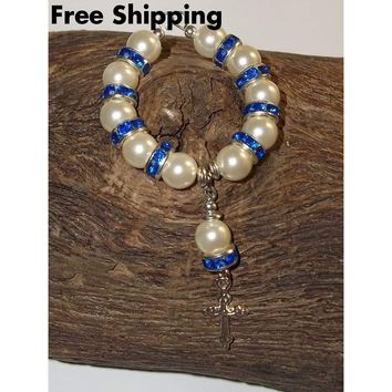 White Pearl Bead & Deep Blue Swarovski Crystal Rondelle Hand Crafted Car / Pocket Rosary