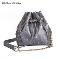 Luxury Women Handbags Brand Bags Female Famous Designer Rivet Bucket Bag R Bolsas Femininas Leather Ladies Shoulder Bag b033