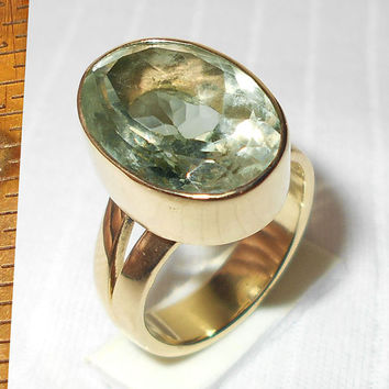 Green Amethyst Ring - Handmade Bezel-Set Ring - Faceted Semi-Precious Stone Ring - Gemstone Ring - Statement Ring - Prasiolite Ring,