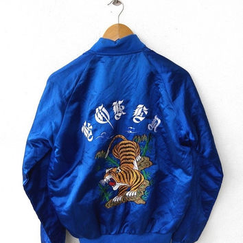 CRAZY SALE 25% SUKAJAN Japan Vintage 80's Embroidery Roar Tiger Korean War Gold Sewn Souvenir Blue Satin Jacket M
