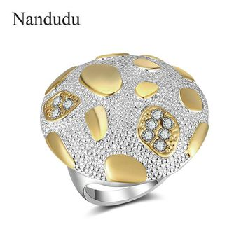 Nandudu NEW ARRIVAL Antique Large Round Ring for Women Fashion Jewelry Shining Zircon Finger Ring Wedding Anniversary Rings 7-9
