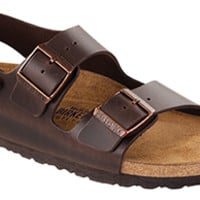 Milano Soft Footbed Brown Amalfi Leather Sandals | Birkenstock USA Official Site