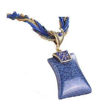 Fashion Sweet Retro Blue Geometric Pendant Necklace