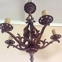Antique Moe Bridges PolyChrome Art Deco Chandelier Very Nice Original Paint 1930s Rewired