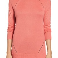 Caslon® Pointelle Detail Button Back Tunic Sweater (Regular & Petite) | Nordstrom