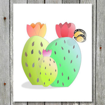 Cactus Art Print. Butterfly with Blooming Cactus.