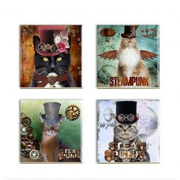 Steampunk Cat Coasters Dressed Cat Ceramic Sublimated Drink Coasters Cat Lover Gift