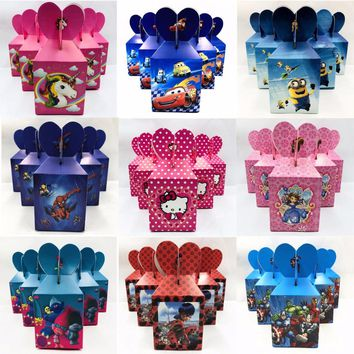 6pcs/set  Minions Spiderman Moana Mickey/Minnie Mouse Avengers Trolls Party Supplies Decoration Candy Box