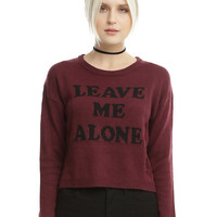 Burgundy Leave Me Alone Destructed Girls Cropped Sweater
