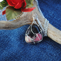 Pink stone necklace; wire wrapped rhodonite; rhodonite necklace; wire wrap stone; natural stone necklace;