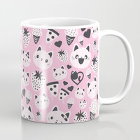Pink Cats & Food Coffee Mug by TheTinyTabby