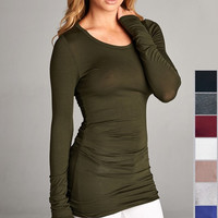 Top Best Seller List! Olive Ruched Long Sleeve Tunic