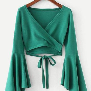 Green Bell Sleeve Knotted Hem Surplice Blouse