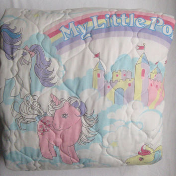 RARE My Little Pony 1984 Hasbro TWIN Size Quilted Bedspread Bed Cover Bedding Kids Girl Bedroom Decor Used Clean