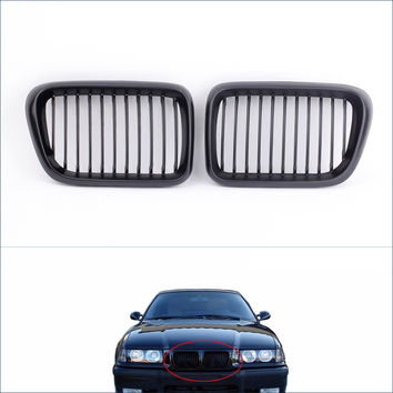 High Quality Automobiles Motorcycles Front Radiator Grills 2Pcs Matte Black Front Kidney Grille for BMW E36 3 Series 1997-1999
