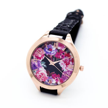 Flower woven strap watch (4 colors)