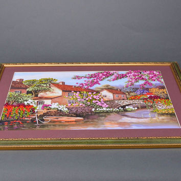 Horizontal handmade satin ribbon embroidery wall hanging in frame Landscape