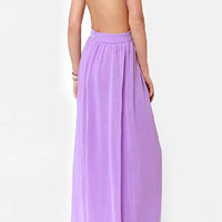 Purple Spaghetti Strap Backless Chiffon Dress