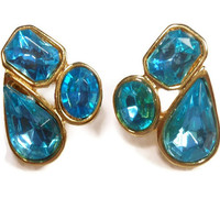 Trifari blue 1980s rhinestone teardrop pierced earrings geometric on original card