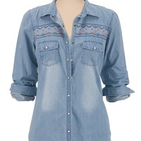 embroidered 2 pocket denim shirt