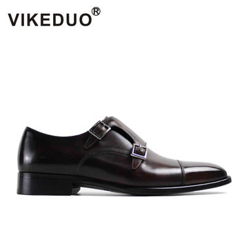 VIKEDUO 2017 Fashion Vintage Retro Handmade Mens Monk Shoes Luxury Party Wedding Shoes 100% Genuine Leather Buckle Hand Painted