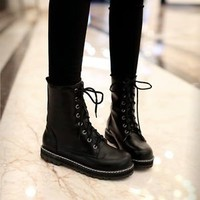 Hot Stylish Lace Up Punk Gothic Shoes Womens Mid-calf Boots Flats Plus Size