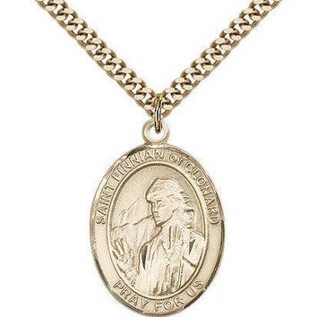 "Saint Finnian Of Clonard Medal For Men - Gold Filled Necklace On 24"" Chain - ... 617759887761"
