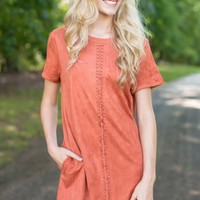Fringe Mod-ern Girl Rust Orange Suede Shift Dress