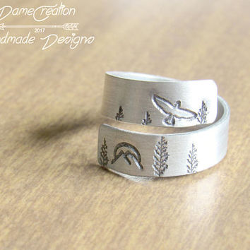 Silver Ring Wrap - Mountain Ring - Bird Ring - Stamped Ring Wrap - Forest Jewelry - Nature Jewelry - Animal Jewelry - Wilderness Ring