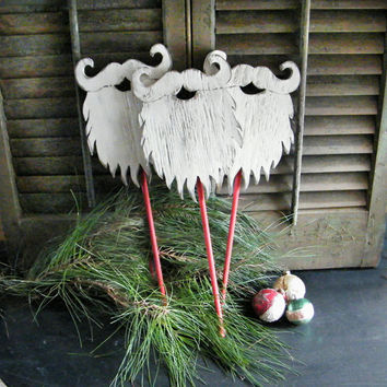 Santa Beard Prop Wooden Christmas Decor Winter Holiday