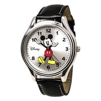 Disney MCK619 Men's Mickey Mouse Moving Hands Silver Dial Black Leather Strap Watch
