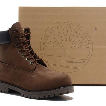 Timberland Men Women Icon 6-inch Premium Classic Dark Chocolate Nubuck Waterproof Boot