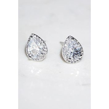 Light In The Night CZ Diamante Teardrop Stud Earrings