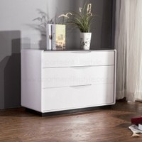 Maestro Lowboy Dresser - White High Gloss w/ Black Glass Top