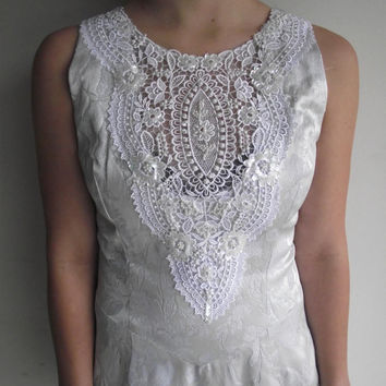 1990's Jessica Mcclintock White Silk // Floral Beaded Embroidered Wedding // Evening Dress