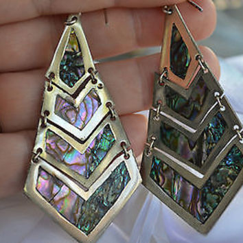 VINTAGE Mexico Alpaca Silver Diaz Santoyo ? Abalone BIG Dangle Earrings Jewelry