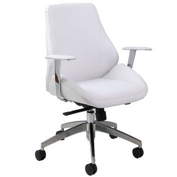 Isobella Office Chair in chrome/aluminum upholstered in Pu Ivory