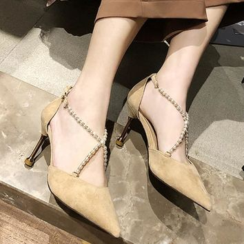 D'orsay Thin Heel String Bead Pointed Toe Shoes