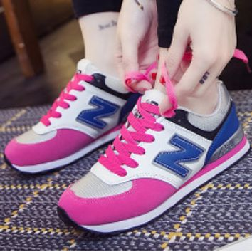 New Balance All-match leisure sports N-character A-Gump running shoes Rose red/blue letter